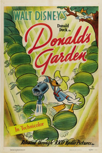"Donald's Garden (RKO, 1942). One Sheet (27"" X 41""). There's no doubt that this cartoon was issued in World War..."