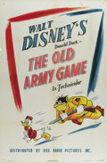 "Movie Posters:Animated, The Old Army Game (RKO, 1943). One Sheet (27"" X 41""). PrivateDonald Duck sneaks off base for some unauthorized R&R. Hiscl..."