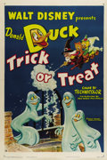 "Movie Posters:Animated, Trick or Treat (RKO, 1952) One Sheet (27"" X 41""). This very nice Walt Disney Donald Duck poster has great cartoon artwork of..."