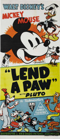 "Movie Posters:Animated, Lend a Paw (RKO, 1941). Australian Daybill (13"" X 30""). ThisOscar-winning cartoon features Mickey Mouse and Pluto. Pluto's ..."