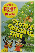 "Movie Posters:Animated, Pluto's Christmas Tree (RKO, 1952). One Sheet (27"" X 41""). Plutoand Mickey Mouse go in search of their Christmas tree. But ..."