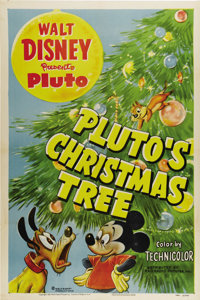 """Pluto's Christmas Tree (RKO, 1952). One Sheet (27"""" X 41""""). Pluto and Mickey Mouse go in search of their Christ..."""