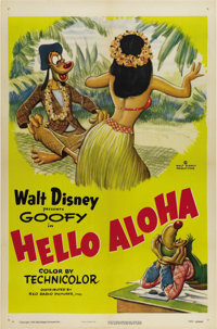 """Hello Aloha (RKO, 1952). One Sheet (27"""" X 41""""). During the '40s and '50s, Goofy starred in 48 feature cartoons..."""