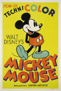 "Movie Posters:Animated, Mickey Mouse Stock Poster (United Artists, 1935) One Sheet (27"" X 41""). By 1935, Walt Disney had already been producing his ..."