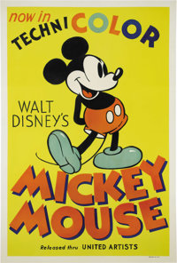 "Mickey Mouse Stock Poster (United Artists, 1935) One Sheet (27"" X 41""). By 1935, Walt Disney had already been..."