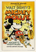 "Movie Posters:Animated, Mickey's Nightmare (United Artists, 1932). One Sheet (27"" X41"").The most sought after movie posters, other than those from ..."