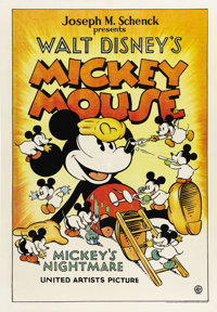 "Mickey's Nightmare (United Artists, 1932). One Sheet (27"" X 41"").The most sought after movie posters, other th..."