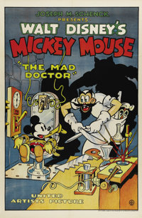 "The Mad Doctor (United Artists, 1933). One Sheet (27"" X 41""). The villains used in Walt Disney's cartoons were..."