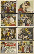 "Movie Posters:Drama, The Loves of Carmen (Fox, 1927). Lobby Card Set of 8 (11"" X 14"").Raoul Walsh directs this silent William Fox produced steam...(Total: 8 Items)"