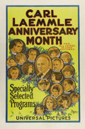"Movie Posters:Miscellaneous, Carl Laemmle Anniversary Month (Universal, 1923). One Sheet (27"" X41""). Universal head Carl Laemmle would periodically issu..."