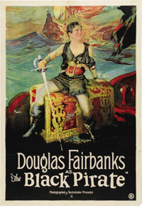 "The Black Pirate (United Artists, 1926). One Sheet (27"" X 41""). Douglas Fairbank's superb acrobatic skills wer..."