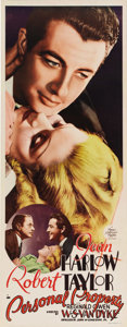"Movie Posters:Romance, Personal Property (MGM, 1937). Insert (14"" X 36""). Robert Taylorand Jean Harlow star on this fantastic, paper backed insert..."