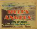 "Movie Posters:War, Hell's Angels (United Artists, 1930). Title Lobby Card (11"" X 14"").Howard Hughes' epic production of WWI fighter pilots cos..."