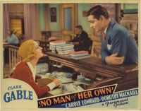 "No Man of Her Own (Paramount, 1932). Lobby Card (11"" X 14""). Card shark Clark Gable escapes the law in a small..."
