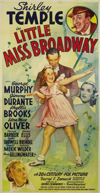 "Little Miss Broadway (20th Century Fox, 1938). Three Sheet (41"" X 81""). Shirley Temple stars as an orphan who..."