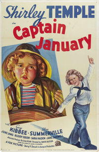 "Captain January (Twentieth Century Fox, 1936). One Sheet (27"" X 41""). Style A. The greatest child actor of the..."
