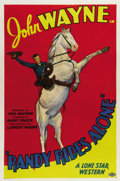 "Movie Posters:Western, Randy Rides Alone (Monogram, 1934). One Sheet (27"" X 41""). In oneof the most memorable opening scenes from any of the early..."