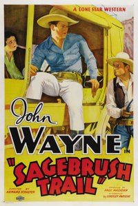 """Sagebrush Trail (Lone Star-Monogram, 1933). One Sheet (27"""" X 41""""). Only the second in the long line of """"B..."""