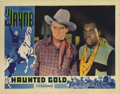"Movie Posters:Western, Haunted Gold (Warner Brothers - First National, 1932). Lobby Card(11"" X 14""). John Wayne returns to claim his stake in a go..."
