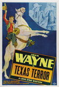 "Movie Posters:Western, Texas Terror (Monogram, 1935) Stock One Sheet (27"" X 41"").Beautiful Lone Star stock sheet for early John Wayne Western.Gre..."