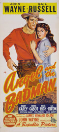 "Movie Posters:Western, Angel and the Badman (Republic, 1947). Australian Daybill (13.5"" X 30""). This was the first film that John Wayne personally ..."