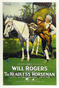 "Movie Posters:Comedy, Headless Horseman, The (Hodkinson Pictures, 1922). One Sheet styleA (27"" X 41""). Will Rogers stars in the first cinematic v..."