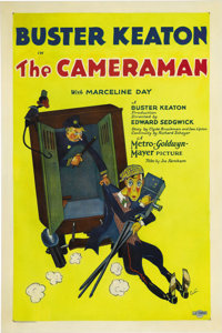 "The Cameraman (MGM, 1928). One Sheet (27"" X 41""). Buster Keaton is considered one of the greatest comic actors..."