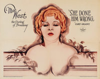 "She Done Him Wrong (Paramount, 1933). Half Sheet (22"" X 28""). Style A. Mae West appears in her first starring..."