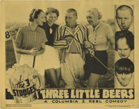 "Three Little Beers (Columbia, 1935). Lobby Card (11"" X 14""). It's laughs on the links as the Three Stooges swi..."