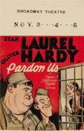 "Movie Posters:Comedy, Pardon Us (MGM, 1931). Window Card (14"" X 22""). Laurel and Hardymade their first all-talking feature length film with ""Pard..."