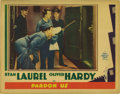 "Movie Posters:Comedy, Pardon Us (MGM, 1931). Lobby Card (11"" X 14""). Stan Laurel andOliver Hardy faithfully wore the crowns as America's clown pr..."