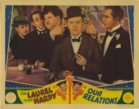 """Our Relations (Metro Goldwyn Mayer, 1936). Lobby Card (11"""" X 14""""). Stan Laurel and Oliver Hardy star in this t..."""