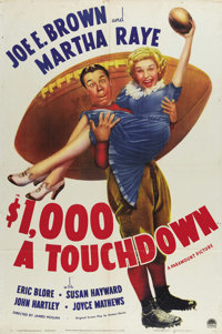 "$1000 a Touchdown (Paramount, 1939). One Sheet (27"" X 41""). Joe E. Brown and Martha Raye star in this comedy a..."