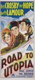 """Movie Posters:Comedy, Road to Utopia (Paramount, 1946). Australian Daybill (13"""" X 30"""").Bing Crosby, Bob Hope, and Dorothy Lamour star in this the..."""