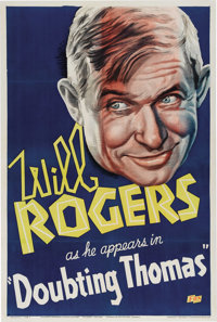 """Doubting Thomas (Fox, 1935). One Sheet (27"""" X 41""""). The great comedian Will Rogers is featured on this unusual..."""