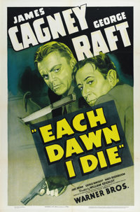"Each Dawn I Die (Warner Brothers, 1939). One Sheet (27"" X 41""). William Keighley directs James Cagney and Geor..."
