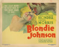 "Movie Posters:Drama, Blondie Johnson (Warner Brothers, 1933). Title Lobby Card (11"" X 14""). During the Depression, circumstances force a girl, pl..."