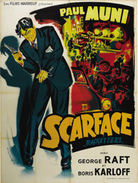 """Scarface (United Artists, R-1950). French Grande (45"""" X 61""""). Loosely based on the life of mafia kingpin Al Ca..."""