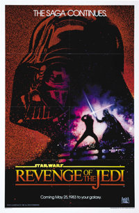 "Revenge of the Jedi (20th Century Fox, 1982). Advance One Sheet (27"" X 41""). Here it is, the legendary advance..."