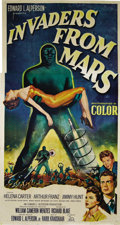 "Movie Posters:Science Fiction, Invaders From Mars (20th Century Fox, 1953). Three Sheet (41"" X81""). This is arguably the finest sci-fi paper of the 1950s...."