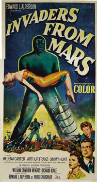 "Invaders From Mars (20th Century Fox, 1953). Three Sheet (41"" X 81""). This is arguably the finest sci-fi paper..."