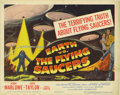 "Movie Posters:Science Fiction, Earth vs. the Flying Saucers (Columbia, 1956). Title Card (11"" X14""). Hugh Marlowe and Joan Taylor star in this 50's scienc..."