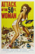 "Movie Posters:Science Fiction, Attack of the 50 Foot Woman (Allied Artists, 1958). One Sheet (27"" X 41""). It took eight days and a budget of $65,000 to sho..."