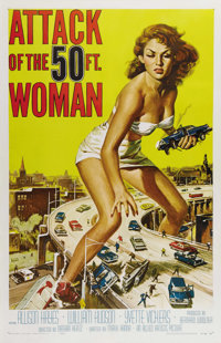 """Attack of the 50 Foot Woman (Allied Artists, 1958). One Sheet (27"""" X 41""""). It took eight days and a budget of..."""