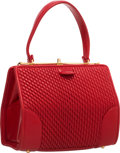 "Luxury Accessories:Bags, Judith Leiber Red Leather Top Handle Bag. Very GoodCondition. 7"" Width x 5"" Height x 3.5"" Depth. ..."