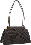 "Luxury Accessories:Accessories, Judith Leiber Black Pleated Leather Shoulder Bag with GoldHardware. Very Good to Excellent Condition. 9"" Width x 6""H..."