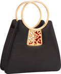 """Luxury Accessories:Bags, Judith Leiber Black Lizard Tote Bag. Very Good Condition. 9"""" Width x 6.5"""" Height x 2"""" Depth. ..."""