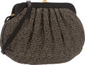 "Luxury Accessories:Bags, Judith Leiber Black & Metallic Gold Wool Boucle Evening Bag.Excellent Condition. 7.5"" Width x 4.5"" Height x 2.5""Dept..."