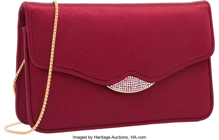 4b35e13a12 Judith Leiber Red Satin & Clear Crystal Evening Bag with | Lot ...