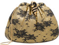 """Luxury Accessories:Bags, Judith Leiber Metallic Gold & Black Floral Leather Evening Bag.Very Good to Excellent Condition. 8.5"""" Width x 6.5""""He..."""